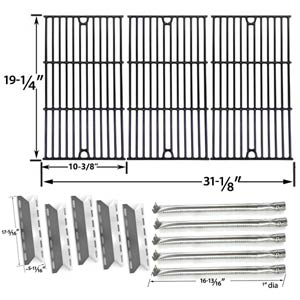 Nexgrill 720-0025 Barbecue Grill Replacement Kit - 5 Stainless Burners, 5 Heat Shields and Porcelain Cast Cooking Grill Grates, Set of 3