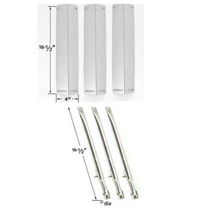 Repair Kit For BBQ Grillware GGPL-2100 Gas Grill Includes 3 Stainless Steel Burners and 3 Stainless Steel Heat Shields
