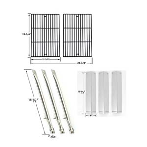 Repair Kit For BBQ Grillware GGPL-2100 Gas Grill Includes 3 Stainless Steel Burners, 3 Stainless Steel Heat Shields and Porcelian Cast Cooking Grates
