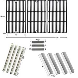Repair Kit For Charbroil Commercial 463247310 BBQ Gas Grill Includes 4 Stainless Burners, 4 Stainless Heat Plates, 3 Crossover Tubes and Porcelain Cast Grates