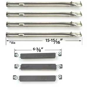 Repair Kit For Charbroil 463247310, 463257010 BBQ Gas Grill Includes 4 Stainless Burners and 3 Crossover Tubes