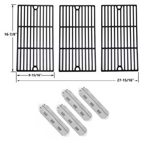 Replacement Charbroil 463420507, 463420509, 463460708, 463460710 BBQ Repair Kit - 4 Heat Plates and Porcelain Cast Cooking Grates, Set of 3