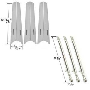 BBQ Grillware, Life@home GSC2418, GSC2418N, 164826, 102056 Replacement Kit Includes 3 Stainless Burners and 3 Stainless Heat Plates