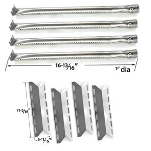 Replacement Charmglow 720-0234, Nexgrill 720-0033, 720-0234, 720-0289 Rebuild Kit | 4 Stainless Burners and 4 Heat Plates