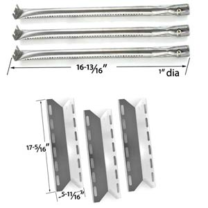 Charmglow 720-0234 Barbecue Grill Rebuild Kit |3 Stainless Burners and 3 Heat Plates