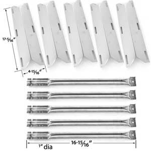 5 Pack Replacement Repair kit For Charmglow 720-0396, 720-0578 Gas Grill Models - 5 Stainless Steel Burners & 5 Stainless Heat Shields
