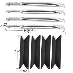 Repair Kit for Nexgrill Red 4 Burner 720-0649 BBQ Grill Includes 4 Stainless Burners and 4 Porcelian Heat Plates