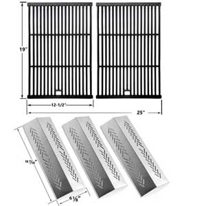 Repair Kit For Broilmate 726454, 726464, 736454, 736464 BBQ Gas Grill Includes 3 Stainless Burners and 3 Stainless Heat Plates