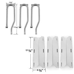 Replacement Jenn-Air 720-0337, 7200337, 720 0337 Gas Grill Repair Kit Includes 3 Stainless Heat Plates and 3 Stainless Steel Burners