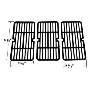 Stamped Porcelain Steel Replacement Cooking Grid For Brinkmann Models : 810-1420-0, 810-9419, 810-9419-1, 810-9325-0, 810-9419, 810-9419-R & Grill King 810-9325-0 Gas Grill Models, Set of 3