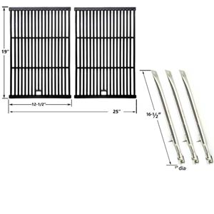 Repair Kit For Sterling 526454, 526464, 536454, 536464 BBQ Gas Grill Includes 3 Stainless Burners and Cast Iron Cooking Grates