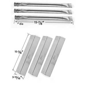 Brinkmann 810-8410-W Gas Grill Replacement KIT - 3 Stainless Steel Burners and 3 Heat Plates