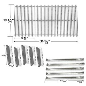 Nexgrill 720-0025 Barbecue Grill Replacement Kit - 5 Stainless Burners, 5 Heat Shields and Heavy Duty Stainless Steel Cooking Grates