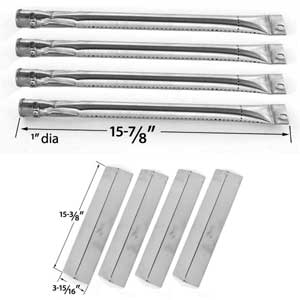 Brinkmann 810-8410-W Gas Grill Replacement KIT - 4 Stainless Steel Burners and 4 Heat Plates
