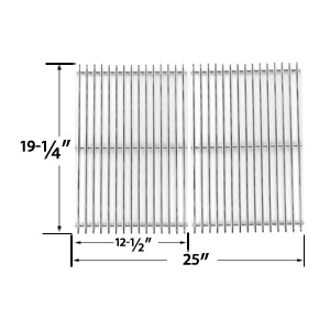 Replacement Heavy Duty Stainless Steel Cooking Grates For Brinkmann, Charmglow, Jenn-Air, Nexgrill, Perfect Glo, Turbo and Capt'n Cook Gas Grill Models, Set of 2