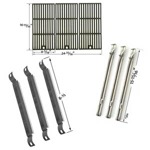Repair Kit For Charbroil Red 500 3 Burner 463250511 BBQ Gas Grill Includes 3 Stainless Burners, 3 Crossover Tubes and Matte Cast Cooking Grates