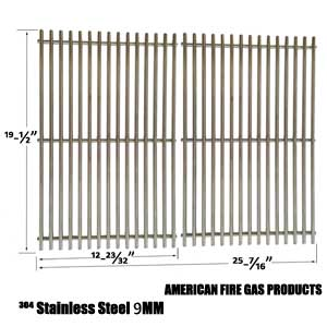 9 mm Stainless Cooking Grates For DCS 27DBQ, BGA27-BQR, 27FSBQ & NSG3902BB, Wellington Uniflame Gas Grill Models, Set of 2