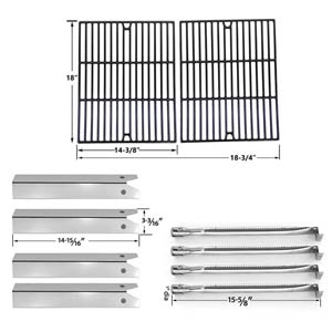 Replacement For Uniflame GBC850W Gas Grill Repair Kit Includes 4 Stainless Heat Plates, 4 Stainless Steel Burners and Porcelain Cast Grates