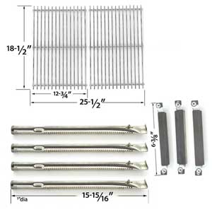 Repair Kit For Kenmore Sears 16644 BBQ Gas Grill Includes 4 Stainless Steel Burners, 3 Crossover Tubes and Stainless Steel Cooking Grates