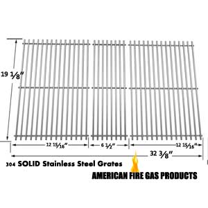 Stainless Steel Cooking Grid Replacement for Members Mark M3206ALP, M3206ANG, M3207ALP, M5205ALP, M5205ANG, MONARCH04ALP and Kenmore 141.16655900, 141.17677 Gas Grill Models, Set of 3
