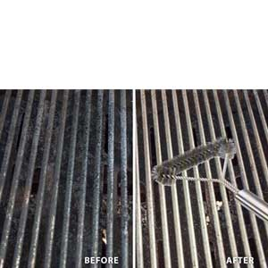 12 Inch 3 Sided Stainless Steel BBQ Grill Brush, for Big Green Egg Charcoal, Charbroil, Gas, Electric, Smoker, Weber & Infrared BBQ Grills + Nylong Bag