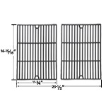Replacement Gloss Cast Iron Cooking Grids For Patio Chef SS48, SS54, SS64, SS64LP, SS64NG and Brinkmann 2500, 2500 pro series, 2600, 2700, 2720, 4425, 4445 Gas Grill Models, Set of 2