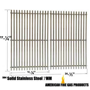 Solid Stainless Steel Cooking Grates For Charbroil 463411512, 463411712, 463411911, C-45G4CB and Master Forge 1010037 Gas Grill Models, Set of 2