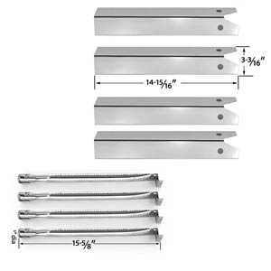 Repair Kit For Uniflame GBC850W Gas Grill Includes 4 Stainless Heat Plates and 4 Stainless Steel Burners