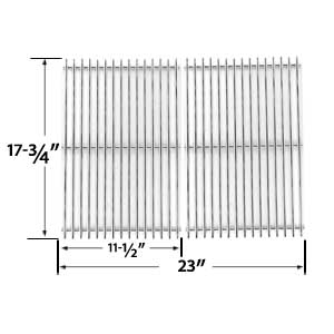 Stainless Steel Cooking Grid for BBQ Grillware GSC2418, GSC2418N, 164826, 102056 and Perfect Falme 13133, 225152, 61701, 2518SL, SLG2007A Gas Grill Models, Set of 2